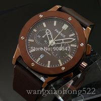Details about parnis coffee dial chronograph quartz mens watch coffee case rubber strap 436