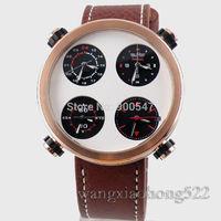 Details about parnis Multiple Time Zone white Sandwich dial quartz chronograph mens watch P522