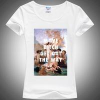 2014 Hot New Fashion Vintage Spring Summer Digital Printing  Women's Short Sleeve T-shirt Cotton Printed Tee T Shirts