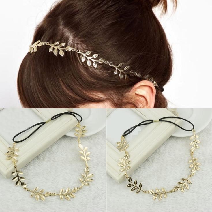 Gold Color Hollow Leaves Elastic Headband Necklace Retro Women Girls Headwraps Hair Band Headdress Headwear-0089-GD\BR(China (Mainland))