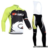 New 2014 Castelli Sidi Pippo Winter Thermal Fleece Cycling Clothing Winter Fleece Long Sleeve Cycling Jersey and Long Bib Pants