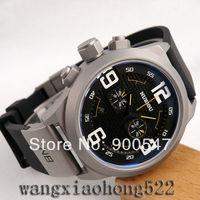 Details about NUBIOU big black dial quartz chronograph sandblast date mens wrist Watch NB01