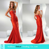 Free Shipping High Quality Sexy Sweetheart Sleeveless With Beading  Mermaid  Evening Dress 2014