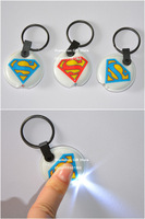 New Arrived The Superman LED Light PVC Key Ring, Give Away Promotion Keychain, Round, Printed Colour, 50pcs/Lot, Free Shipping