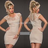 2014 New Fashion Lace Sexy Bodycon Zipper Dress Short Sleeve Summer Autumn Mini Evening Women Girl Club Party Dresses