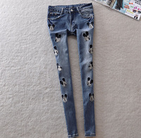 2014New fall Elastic Jeans cartoon embroidery influx of casual fashion girl jeans to do the old hole free shipping