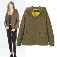 New Arrival Free Shipping 2014 Women's  Hooded Army Green Color Argyle Pattern Quiltting   Jacket  Ladies' Coat Tops