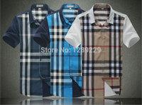 Super Quality Burb Plaid Short Shirts For Men NWT Summer Fashion Manly 100% Cotton Casual Workout Shirts Cheap Sale
