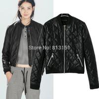 (Free Shipping)  Women's Autumn Winter Argyle Pattern PU Leather  Jacket Lady Coat Outerwear