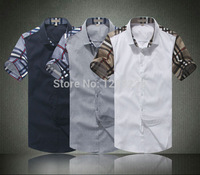 Hot Selling Patchwork Men's Burb Short Shirts Plaid Sleeve Manly Summer Casual Tees New Fashion 100% Cotton Workout Shirts