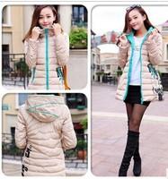 new 2014 women  outerwear cotton-padded jacket slim medium-long wadded jacket women winter jacket thick coat hood parka