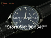 2014 New Brand 43mm Parnis Portuguese PVD Case Black Dial Automaic Leather Men's Watch