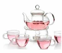 Clear Heat Resistant Borosilicate Glass Teapot Tea Set & Infuser 400ml and 4 Handle Tea Cups