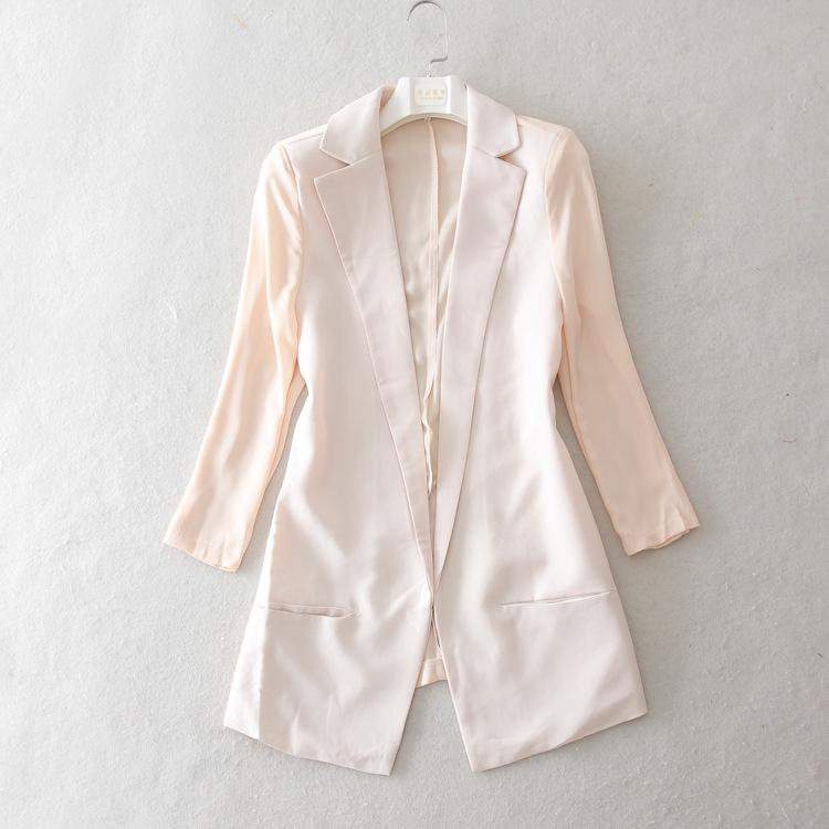 Fall 2104 new women's fashion chiffon stitching seven sleeve blazer joker blazer Japanese style(China (Mainland))