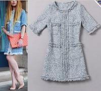 Best Quality New 2014 Autumn Brand Runway Fashion Woman Half Sleeve Vintage Mini Dress