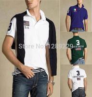 Cheap Flag Embroidered PL Brand Men's Short T Shirts 100% Cotton Fashion Turn-durn Collar Shirts High Quality Sports Camisetas