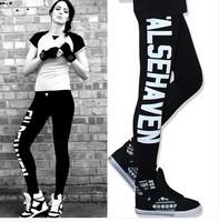 Hot!  2014 New Fashion Leggings Harajuku Retro Letters Long Underwear West Fashionista Stretch Leggings S/M/L