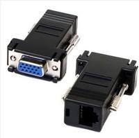 10PCS/LOT 15PIN VGA to RJ45 connector New VGA Extender Female To Lan Cat5 Cat5e RJ45 Ethernet Female Adapter
