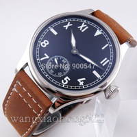 Details about 44mm parnis black dial manual winding 6498 cow leather mens ST3620 Watch P132