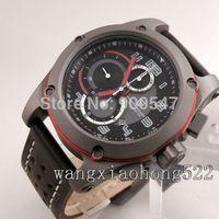 Details about 48mm Pagani design quartz men's watch full chronograph big face black strap 051