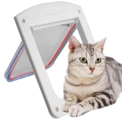 White Frame Magnetic 4 Way Locking Pet Cat Flap Door()