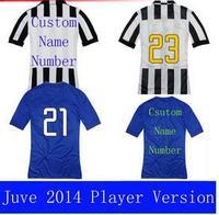 A+++ Top Men Thailand Juve Kit Juve 14 15 Soccer Futbol Jersey Custom NAME POGBA TZVEZ VIDAL Pilro Llorente