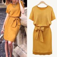 2014 plus size 3XL 4XL 5XL Yellow Brief Autumn Summer Dress business female work wear dresses Sashes women ruffles clothing