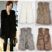 2014 Man-made Long Furry Faux Fur Multi-colors Warm Woman Vest Jacket Outwear Coat #65229