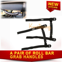 New A Pair Roll Bar Grab Handles for Jeep Wrangler 2007~2012 Black embroidered logo Roof Board With Racing Seat Non-slip handles