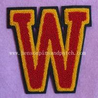 Custom  chenille patch, applique patch, letter patch, W patch