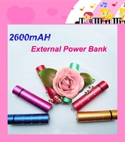 100pcs/lot Wholesale External Bankup Battery Pack Charger Power Bank + Micro USB Cable For Mobile Smart Phone MP4 MP3 2600mAH