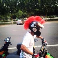 new devil horns personality angle / punk hair / Roman knight cherry / explosion head helmet ornament
