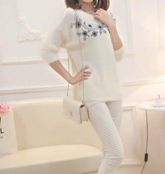 Леди свитера женская зима мода белые цветы свободного покроя женская теплая юбка ...