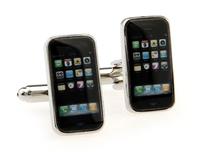 High Quality iphone Cufflinks , Rhodium Plated Iphone 4 Shape Cufflinks , Free Shipping !