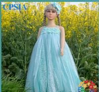 Frozen Elsa Anna Snow Adventure Romance Dresses For Girls Floor Length Spaghetti Christmas Gift  Free Shipping