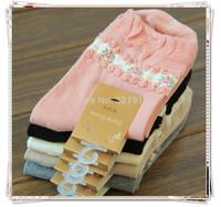 ladies crew socks  lot of  20  prs mix colours floral pattern socks ruffly top fashion socks free shipping womens cotton socks