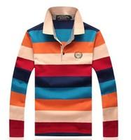New 2014 Spring Autumn Long-sleeved T shirt Men's Stripes Business Lapel Brand Casually Slim Fit Man Cotton Coat XXXL Fashion