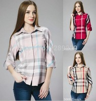 Wholesale&Retail Plaid Burb Brand Women's Summer Shirts New Fashion Lady's Long Sleeve Clothes Hot Sell Elegant Workout Blouses