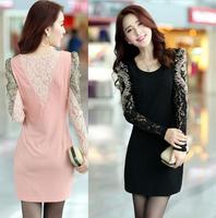 Top Quality Plus size M L XL Women Lady dress Sexy Fashion O-neck OL Peplum Dress Party Bodycon Dresses Black Pink