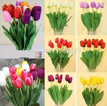 Fd1011 прекрасный день искусственный тюльпан цветы из шелка листьев главная свадебные декор ну вечеринку ~ pc ~