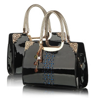 New Ladies Women's Bag Patent Leather Hollow Out Handbags Totes Shoulder Bags Messenger Cross body Wristlets