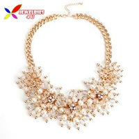 2014 fashion elegant faux pearl gold clear beaded cluster flower chunky statement false collar pendants & necklaces for women