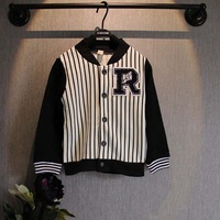 [retail] new arrival girls and boys fashion patchwork baseball coat kids casual R striped jackets 317