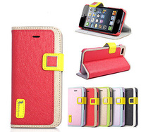 hellodeere Fashion Ice Silk sereis Stand Cover For iphone 5 Wallet Leather Case For Apple iPhone 5 5S 5G +screen protector