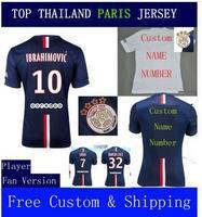 A+++ 100% Top Thailand 2014 New Home BLUE Ibrahimovic Kit Soccer Jersey Lucas De Futbol Maillot De Foot David Luiz