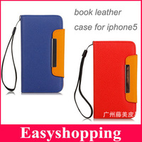 New fashion business Credit card Stand holder book PU Leather case for iPhone 4S 5 5S 1pce protector