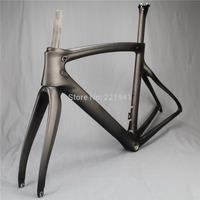2015 High ModulusToray T700 Carbon Fiber Road Bicycle Frameset Bike Carbon Frame Fork Seatpost No Headset Matt 57.5cm V Brakes