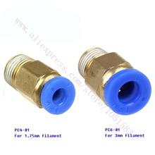 PC4-01 1.75mm or PC6-01 3.0mm Filament Optional  PTFE Tube quick coupler , j-head 3 D Printer Reprap, Makerbot, Ultimaker