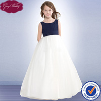 Goingwedding Wholesale Floor Length Ball Gown Navy Blue And White Plus Size Tulle Puffy Little Queen Flower Girl Dress HT027
