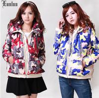 Lanluu 2014 New Autumn and Winter Overcoat Camouflage Military Short Jacket Women Coats SQ874